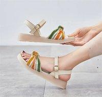2021 Explosive Fee Style Womens Flache Sandalen Hausschuhe Rutschen Net Red Mid-Heel Sandale Frauen Schwarz Beige 35-40