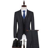Tweed Wool Blend Men Suit Tailored Groom Tuxedos Vintage Groomsman Black 3 Pieces Wedding Suits Jacket+pants+vest Men's & Blazers