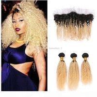 8A racines sombres en dentelle blonde fermeture frontale avec des bundles de cheveux ombre 1b 613 cheveux vierges afro Kinky tissage bouclé avec 13 * 4 en dentelle frontale