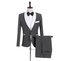 Handsome One Button Groomsmen Shawl Plaza de Sol de Solitarios TUXEDOS Hombres Trajes de boda / Prom / Cena Blazer (chaqueta + pantalones + chaleco + corbata) 080 Blazers para hombre