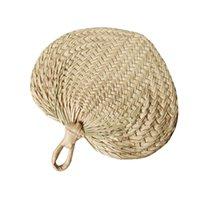 50pcs Chinese Style Handmade Fan Natural Hand Weaving Palm Leaf Fan Home Decor Vintage Cool Summer Fan