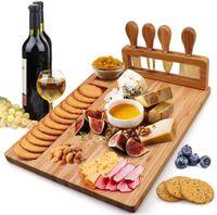 Tablero de queso de bambú de alta calidad Bloques de cortar cuchillos Cuchillos Conjunto de tablas de corte de madera Herramientas de cocción 4pcs Cuchillo Conjuntos de alimentos