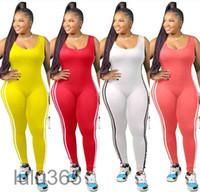 Fat Woman Oversize 2021 New Women Jumpsuit Designer Sólida Cor U-pescoço Bodysuit 9 Cores Colete Side Stripe Macacão Moda Casual Roupa