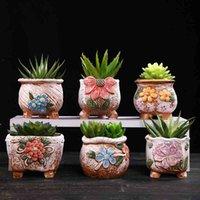Ceramica grossolana retrò colorato verniciato flower flower pot con supporto piedi succulente pianta vaso di fiori bonsai piantatore vaso ornamenti desktop 210401