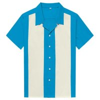 남성 캐주얼 셔츠 세로 줄무늬 셔츠 남자 버튼 다운 드레스 코튼 짧은 소매 복고풍 볼링