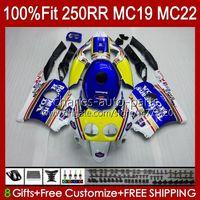 Corps de moule à injection pour Honda CBR 250R 250R CC 250R CBR250RR 88 89 112HC.0 CBR 250CC MC19 88-89 CBR250 RR CC 1988 1989 Kit de carénage complet Rothmans Bleu