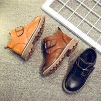 Sneakers Autumn And Winter Childrens Shoes British Style Leather Children Plus Velvet Boots Round Head Thick Cotton