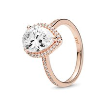 18K Rose gold Tear drop CZ Diamond RING with Original Box fit Pandora 925 Silver Wedding Rings Set Engagement for Women Jewelry