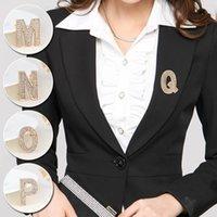 A-Z letra Crystal Lindo Broche para Mujeres Hombres Rhinestones Color de plata Pines Metal Accesorios de joyería Bufanda Decoración