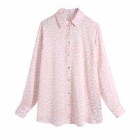 Women's Blouses & Shirts Women Leopard Print Long Sleeve Pink Shirt Female Turndown Collar Blouse Casual Lady Loose Tops Blusas S8732