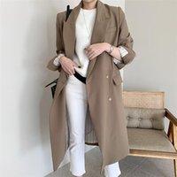 Дунайский 2021 осень осень зима женская ветровка элегантные кнопки Vintage Beversian Split Office Lady длинные траншеи топы пальто