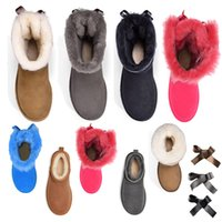 vrouwen winter luxurys designer laarzen meisje klassieke sneeuw laars enkel korte boog mini bont zwarte kastanje roze bowtie dames schoenen maat 5-10 mode buiten