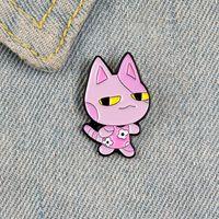 핑크 고양이 에나멜 핀 브로치 여성을위한 만화 동물 배지 꽃 드레스 옷깃 핀 옷 셔츠 배낭 쥬얼리 선물 691 T2