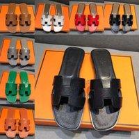 H Sandali estivi da donna Sandali spiaggia Slide Slippers Coccodrillo Pelle pelle Flip Flops Sexy Tacchi Signore Sandali Moda Designs Arancione Scarpe Scuffs