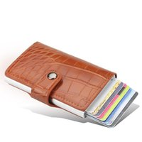 Card Holders RFID Aluminium Alloy Holder PU Leather Wallet For Men Women Automatic Up Case