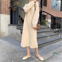 Yocalor Fashion Pull Robe 2021 Automne Hiver Terrtleneck Lâche Tricoter Basculer sur le genou Couleur Solid Vestido Robes décontractées