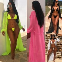 Beach Suit Neon Piece Set Bikini Women Summer Transparent Strap Swimwear And Long Chiffon Cover Up Outfit Novgirl Fashion 3