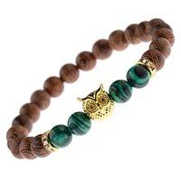 8 ملليمتر جولة الخرز الخشب بوذا سوار الرجال تمتد الشظية اللون البومة مطرز braceletsbangles مجوهرات pulseiras