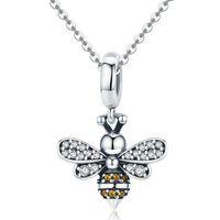 Einzigartige volle Pave Biene baumeln Charme für Frauen Fit European Pandora Armband 100% 925 Sterling Silber 61 W2