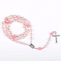 Religiöse Simulierte Perlenperlen Lila Rose Katholische Rosenkranz Halskette Lange Halsketten Jesus Schmuck 8 N2