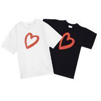 الاطفال بلايز قصيرة الأكمام إلكتروني القلب المحملات مريحة عارضة لطيف الفتيات قمم أزياء الفتيان القمصان babytshirts 2021
