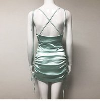 2021COLYSMO Сексуальное Летнее Платье 2021 Женщины Спагетти Ремни BodyCon Платье Slim Stresce Multi Носите Ruched Club Сатиновое Плание Vestidos New