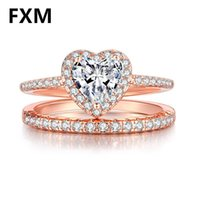 Eheringe FXM Herzförmige CZ Schmuck für Frauen 2021 Braut Engagement Doppel Paar Einfache Set Ringring