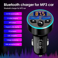 Bluetooth 5.0 QC 3.0 3.1A Quick Charge TF Card U-Disk MP3 Player Phone Accessories FM Transmitter Car Charger LED Light Ring