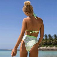 Women's Swimwear Leopard Print High Waist Halter Split Bikini Set Sexy Swimsuit Two Piece Triangle Ladies Bathing Suits Women