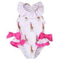 2020 الصيف الجديدة فتاة ملابس مع قبعة الأطفال الكرتون الزرافة القوس الاطفال لطيف ملابس السباحة 2-7Y E60181 698 Y2