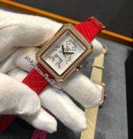 Erkek-arkadaş Kod Coco Elektro H4469 İsviçre Kuvars Bayan İzle Gül Altın Elmas Çerçeve Düşük Poli Beyaz Dial Kırmızı Deri Kayış Sınırlı Sayıda Bayanlar Puretime F02B2