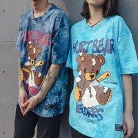 Vegetrs Street Ins Verão Nova Tie Bear Bear Imprimir T-shirt solta dos amantes de manga curta para homens
