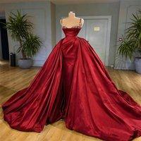 Precioso rojo A-Line Vestidos de noche Cuentas de cristal Sexy Spaghetti Sin mangas Formal Fiesta Vestido Tren de barrido Hecho a medida Vestido de baile