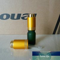 5ml clear blue green brown frosted Glass Bottle With aluminum matte gold press dropper cap. Oil vial, Essential Oil Container Factory price expert design Quality