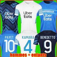 Marseille Olympique De Maglia da calcio 22 21 OM 2022 2021 maglia da calcio PAYET THAUVIN BENEDETTO maglia da calcio da uomo + kit per bambini terzo
