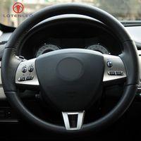 DIY сшитые вручную черную одежду из искусственной кожи на крышке рулевого колеса для Jaguar XF 2008-2015 XK XKR-S XKR 2006-2011