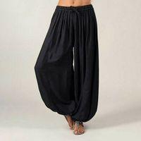 Yoga roupas mulheres ali baba calças aladdin afegão elástico gênio hippy jumpsuit algodão harem solto casual senhoras calças dance pantssoccer jersey