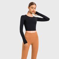 L-128 잘린 까마귀 슬림 착용 스웨터 요가 복장 패션 올 매치 스포츠 탑 자켓 여성 레저 코트 긴 소매 셔츠 착용 휘트니스 착용