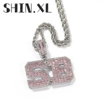 Hip Hop Custom Name Cubic Pink Zircon Iced Out Letters Pendants Necklaces For Men Jewelry Tennis Chain
