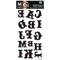 Nu-Taty Temporäre Körperkunst Englisch Alphabet Buchstaben Flash Tattoo Aufkleber 205 * 95mm Wasserdichte Henna Tatoo Christmas Tattoo