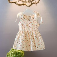Girl's Dresses Summer Toddler Baby Kids Girls Fashion Dress Sleeveless Ribbons Bow Floral Princess Casual Cute 20-25
