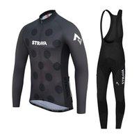 Mens Велоспорт Джерси Костюм STRAVA Team Длинные Рукав MTB Велосипедная Рубашка нагрудника Брюки Устанавливает Дышащий Дорожный Велосипед Настройки Racing Одежда ROPA Ciclismo Y21071615