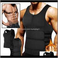Gym Clothing Mens Waist Trainer Body Shaper Neoprene Sauna Sweat Vest Zipper Double Adjustable Workout Suit Tank Top Trimmer Ta7Ss Itdbj