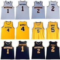 NCAA Michigan Wolverines 5 JALEN Gül Basketbol Formaları Chris Webber 4 Juwan Howard 25 1 Charles Matthews 2 Jorda Poole Koleji Sarı Erkekler Atletik Açık Giyim