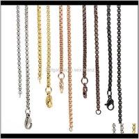 Consegna a goccia di gioielli pendenti per collane 2021 Catene all'ingrosso! 18,20,24.28,32 catene medaglione galleggianti in acciaio inox rolo quadrato 2DOT6mm w