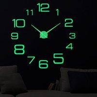 Wall Clocks Luminous Acrylic Sticker Digital Clock 47inch Quartz Silent Modern Design Home Decor Living Room