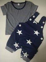 الفتيان مجموعة ملابس الشريط T + ستار حمالة السراويل تتسابق الصيف 2021 ملابس الأطفال بوتيك 0-3 طن الطفل بأكمام قصيرة 2 قطعة
