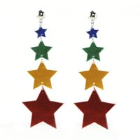 Fashion Women Long Big Star Acrylic Earrings Drop Dangle Hook Resin Jewelry Long Tassel Bohemian Earrings