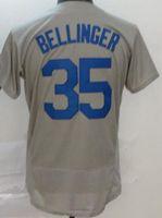 남자 야구 35 코디 벨저 저지 42 재키 로빈슨 자수와 스티치 플렉스베이스 팀 컬러 멋진베이스 블루 블랙 화이트 그레이