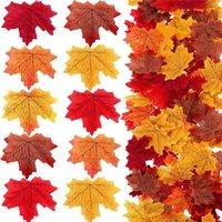 100ピース/パックカエデの葉人工シミュレーション秋の葉の花びらハロウィンクリスマ感謝祭パーティーウェディングテーブルデコレーションY0909